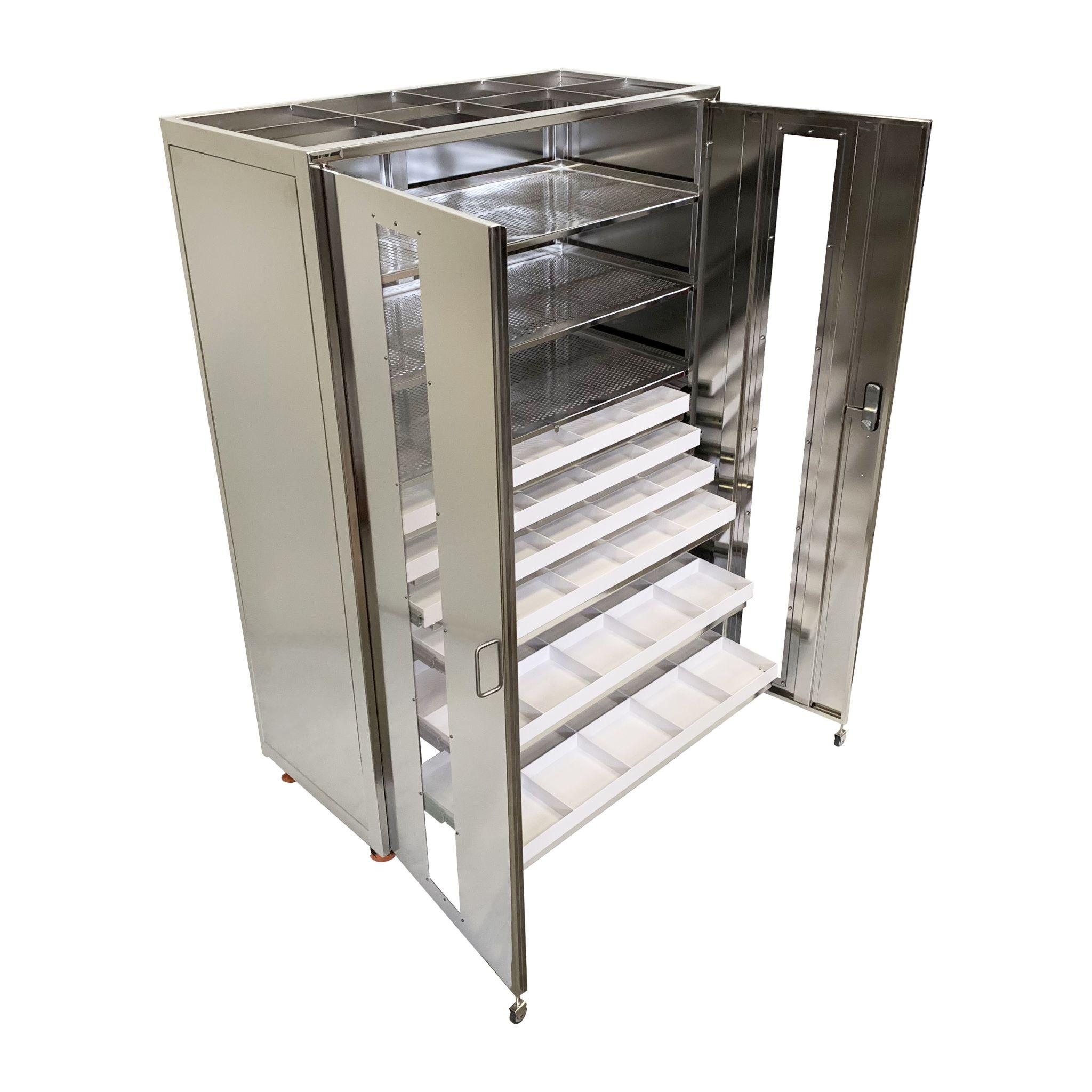 Armoire prééquipée, pour le raccordement sous flux laminaire en salle blanche, de tiroirs coulissants avec compartiments de rangement en PEHD et ASTL