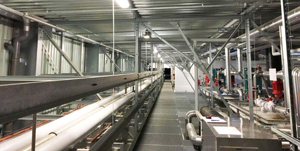 Collecteurs de fluides sur rack en combles