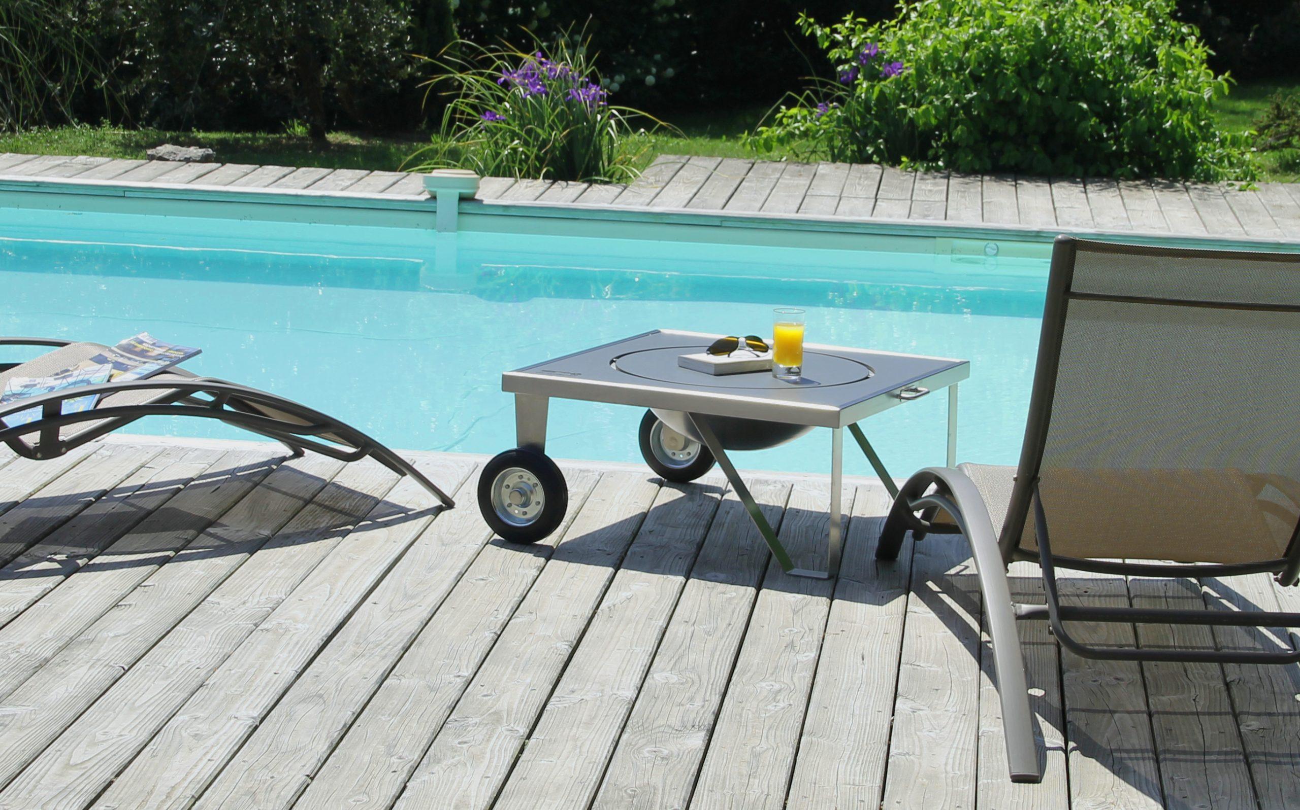 Table basse brasero inox design