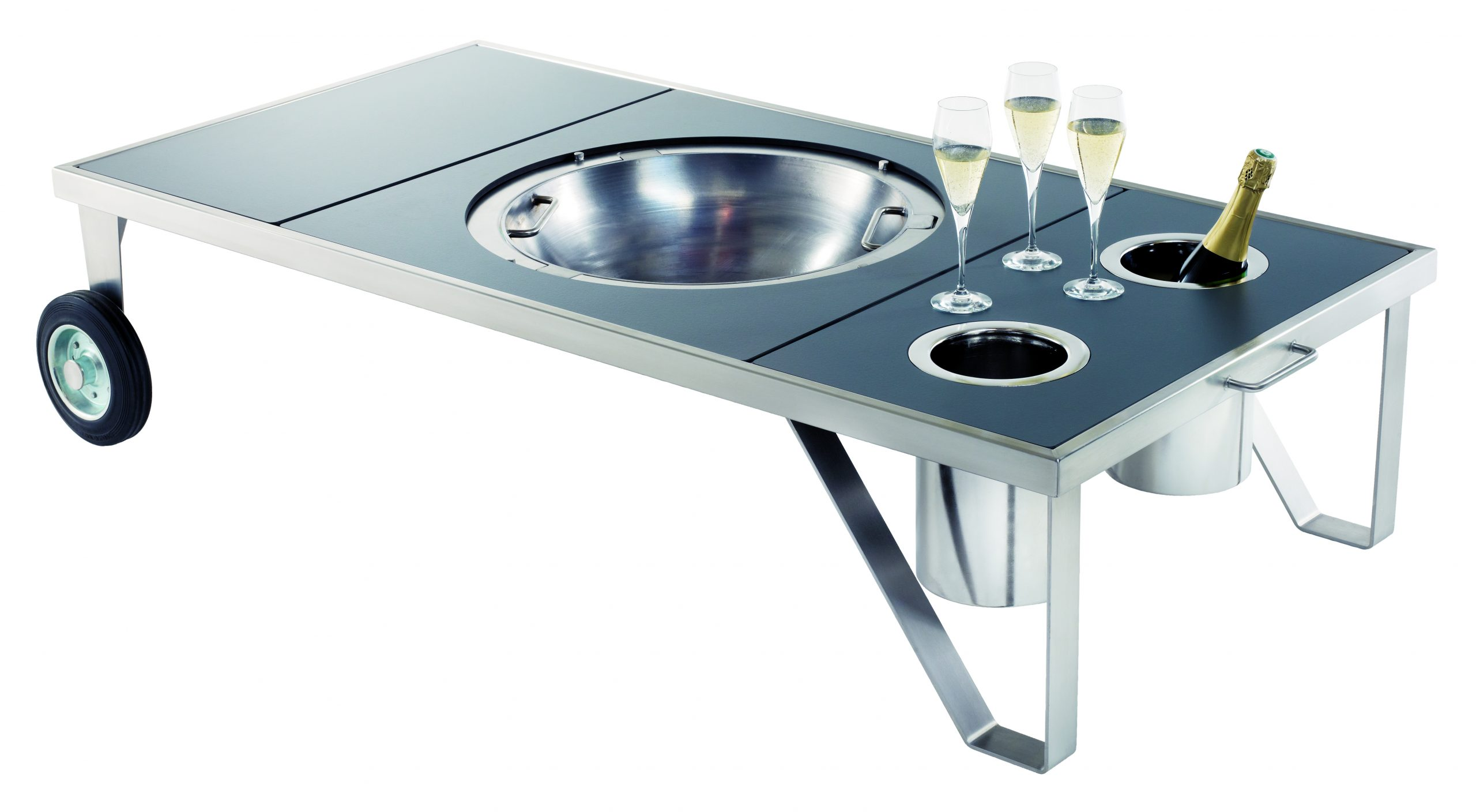 Table basse brasero inox mobile